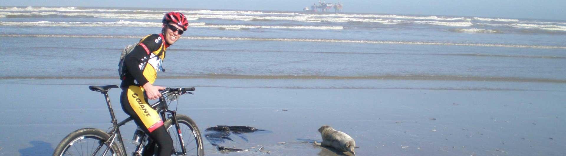 MTB Ameland beeldverslagen: MTB'er ontmoet een zeehond op het strand van Ameland tijdens de race